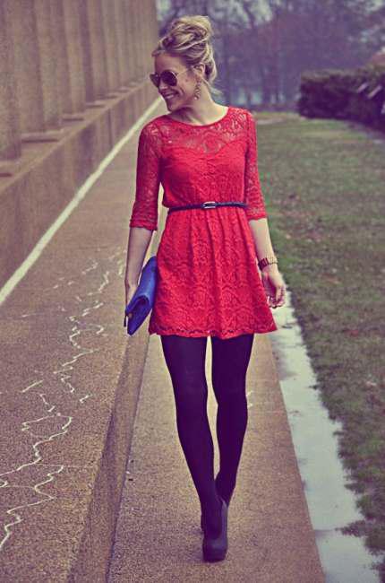 Wear lace dresses in winter (5)