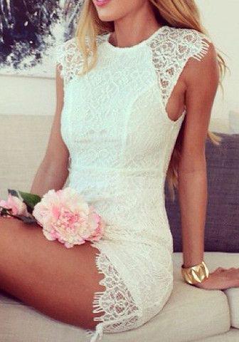 852750802a54 Κοντά λευκά φορέματα για βραδινές εξόδους