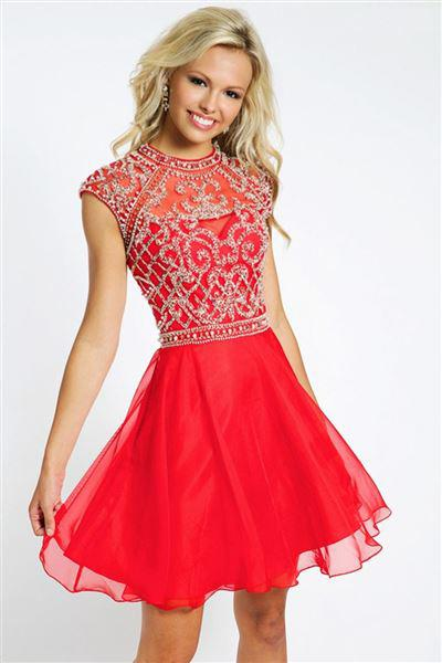 kokkino forema 2 - Κοντό κόκκινο φόρεμα για γάμο