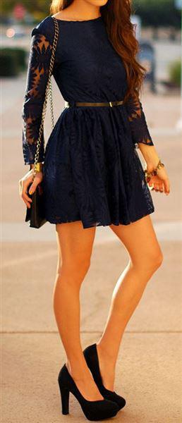 mple dantelenio forema 2 - Navy blue δαντελένια φορέματα για την άνοιξη